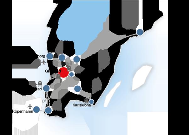 en karta över södra Sverige med dess logistikpunkter så som tåg flygplatser